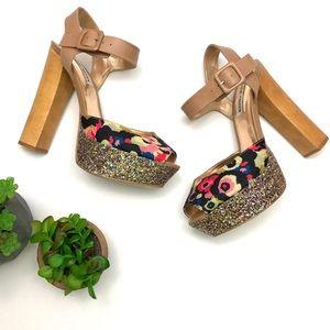 Steve Madden Jilly Floral Sparkle platform heels